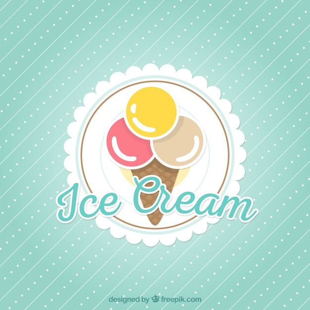 Background Of Cute Ice Cream With Phrase Vector: Ice Cream Background Vector