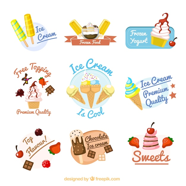 Ice Cream Free Vector Download 980 Free Vector For: Ice Cream Badges Vector