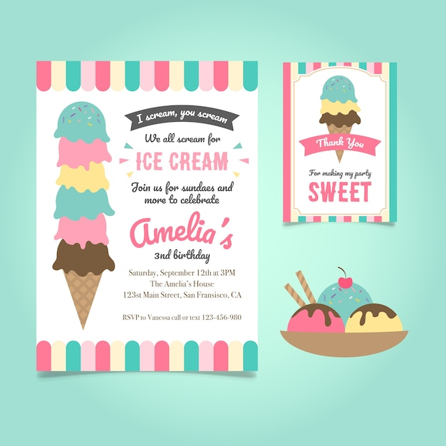 Ice cream birthday invitation Free Vector