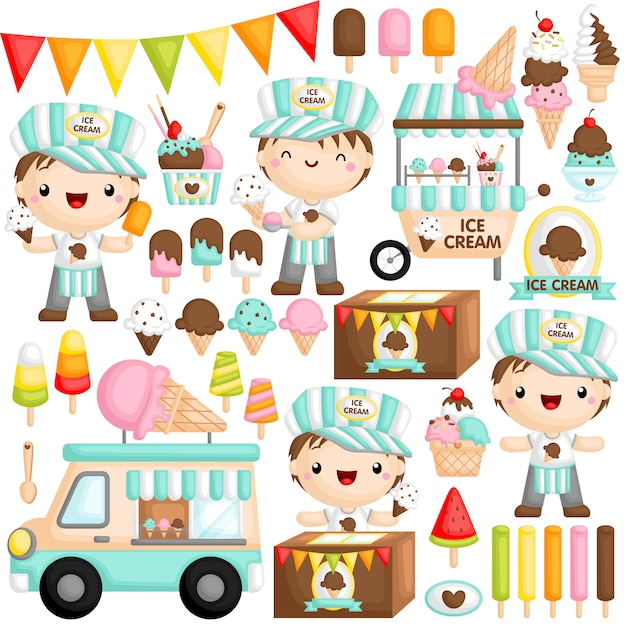 Ice cream boy Premium Vector