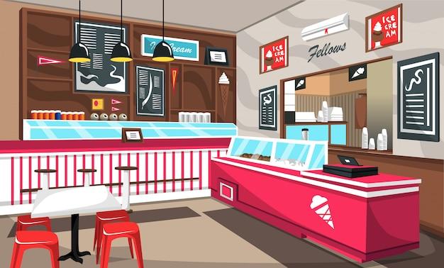 Ice cream cafe colorful decoration Premium Vector