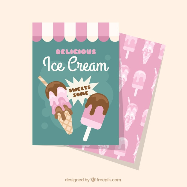 ice cream card template in flat design vector free download