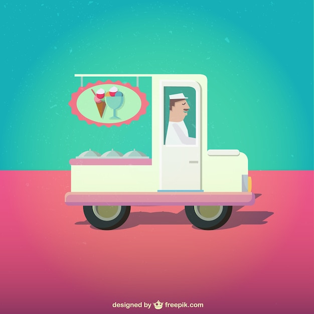 Ice cream cart illustration Free Vector