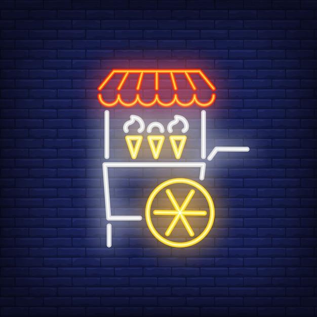 Ice cream cart neon sign Free Vector