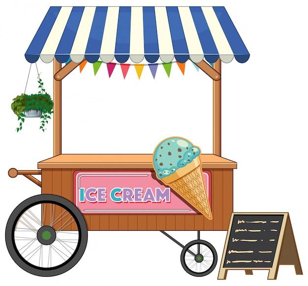 Stile del fumetto del negozio del carretto del gelato isolato Vettore gratuito