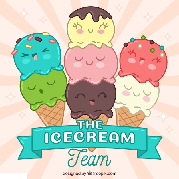 Ice cream characters background Free Vector