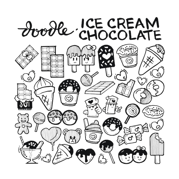 Ice cream, chocolate doodle hand drawn Premium Vector