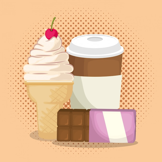 Ice cream and coffee with chocolate bar Free Vector