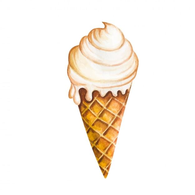 Ice cream cone isolated on white background Premium Vector