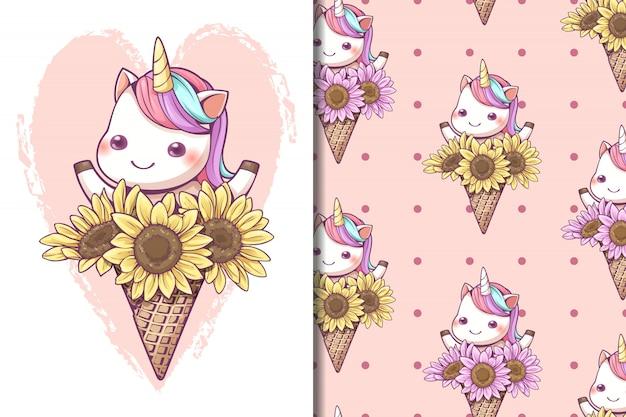 Ice cream cone unicorn with sunflower seamless pattern Premium Vector