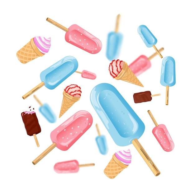 Ice cream cones and ice popsicles Premium Vector