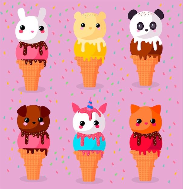 Ice cream cones Premium Vector