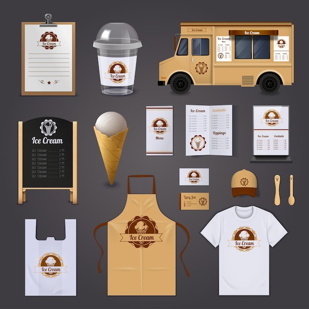 Ice cream corporate identity realistic design icons set Free Vector