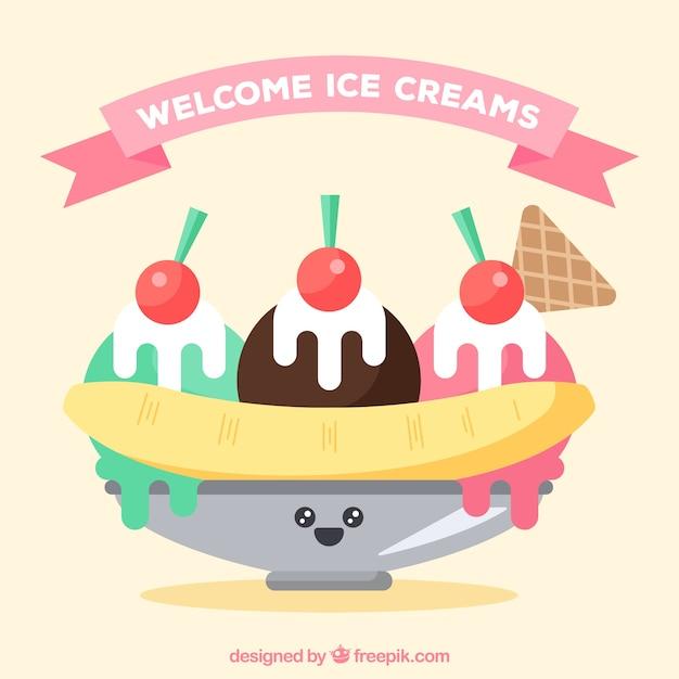 Ice cream dessert background in flat\ design