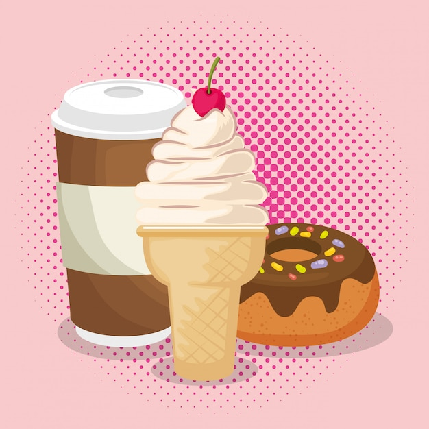 Ice cream and donut with coffee Free Vector