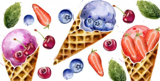 Ice cream and fruits summer watercolor Premium Vector