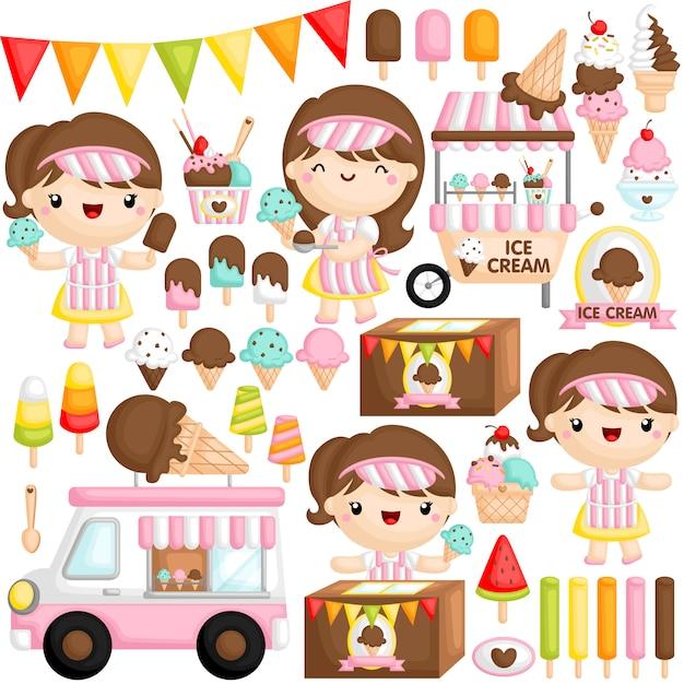 Ice cream girl Premium Vector