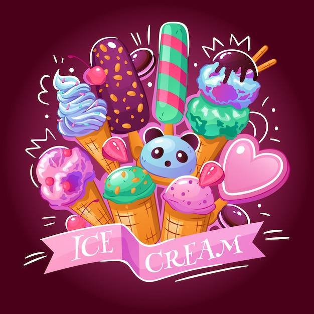 Иллюстрация мороженого Бесплатные векторы
