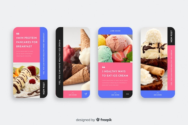 Ice cream instagram stories collection Free Vector