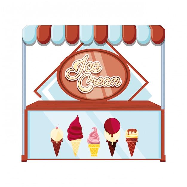 Ice cream kiosk and showcase Premium Vector