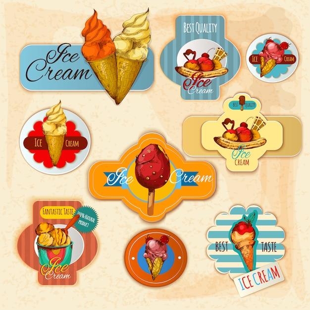 Ice cream labels Free Vector