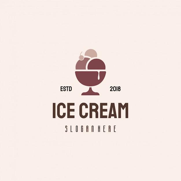 Ice cream logo design, sweet food logo Premium Vector