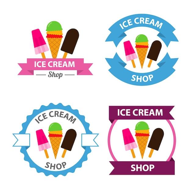 아이스크림 로고 벡터 세트 프리미엄 벡터