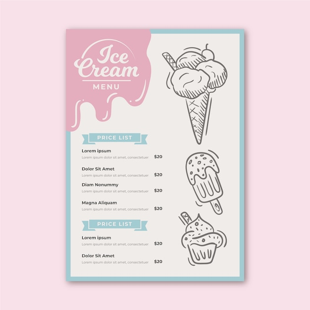 Ice cream menu template Free Vector