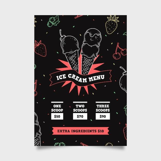 Шаблон меню мороженого Бесплатные векторы
