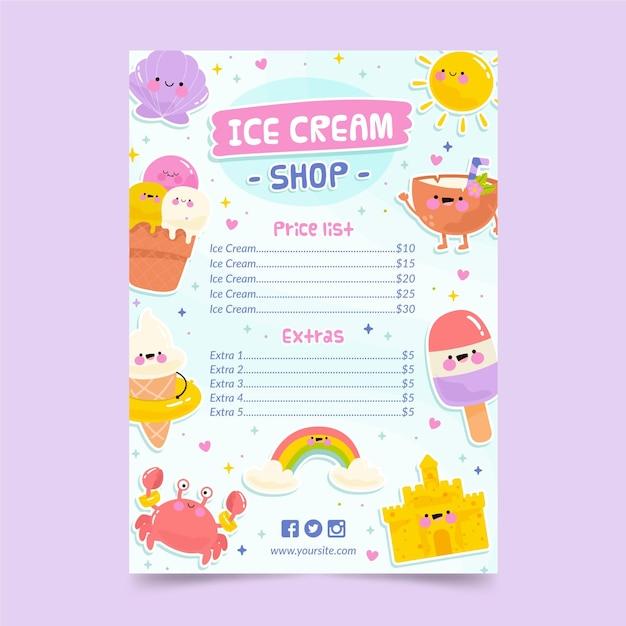 アイスクリームメニューテンプレート 無料ベクター