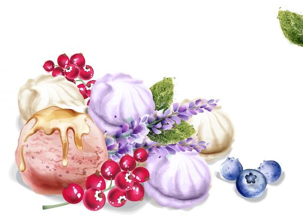 Ice cream and meringue watercolor Premium Vector