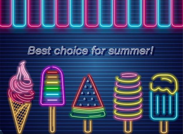 Ice cream neon summer banner Premium Vector