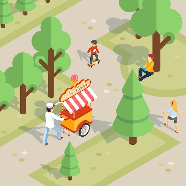 Мороженое на открытом воздухе. продавец мороженого катит тележку по парку. дети и еда, веселая и прогулка и десерт. Бесплатные векторы