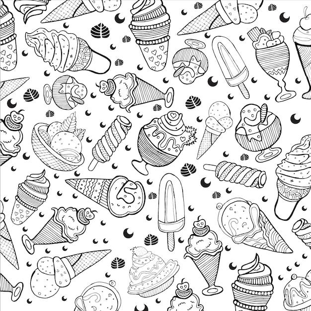 Ice cream pattern background Free Vector