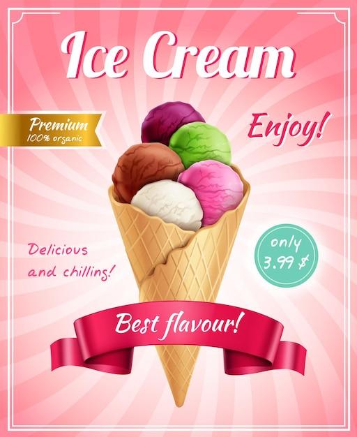 Рекламная композиция плаката для мороженого с рамочными редактируемыми текстовыми надписями и реалистичным изображением мороженого корнета Бесплатные векторы