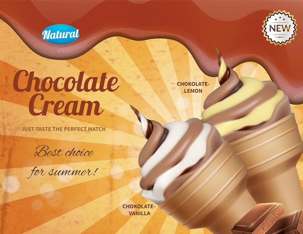 Ice cream realistic advertising composition with portions of icecream cornet and ornate text available for editing illustration Free Vector