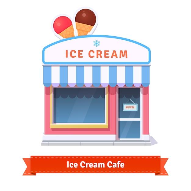Ice cream restaurant and shop building facade Free Vector