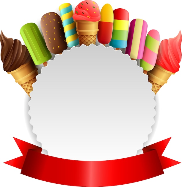 Ice cream round frame with ribbon illustration Vector   Premium Download