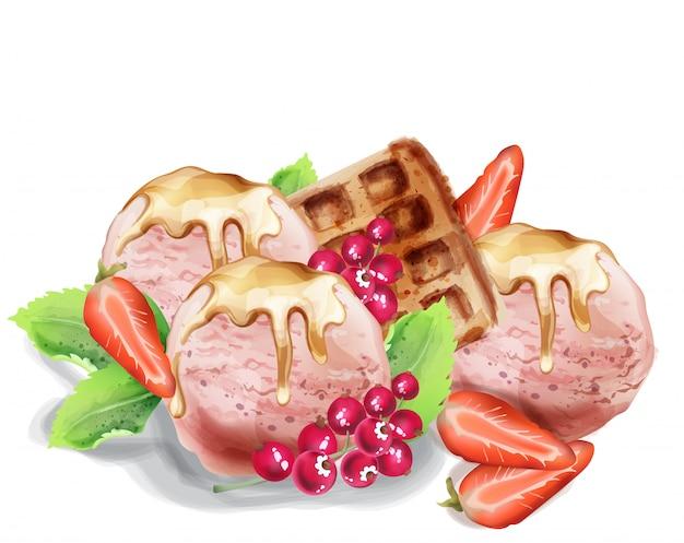 Ice cream scoops watercolor Premium Vector