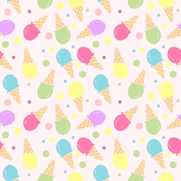 Ice cream seamless pattern illustration vector Premium Vector