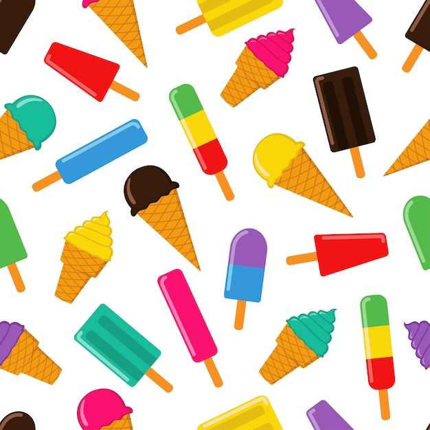 Ice cream seamless pattern vector design Premium Vector
