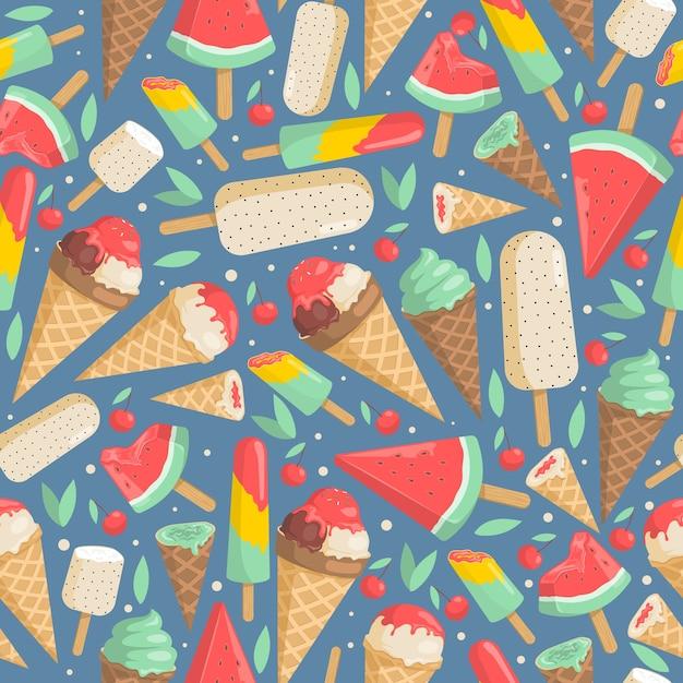 Бесшовный узор из мороженого Premium векторы