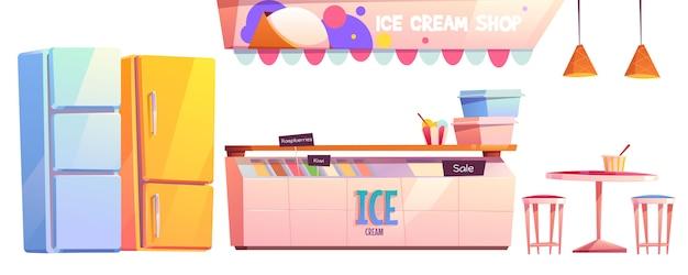 Ice cream shop or cafe interior equipment set Free Vector