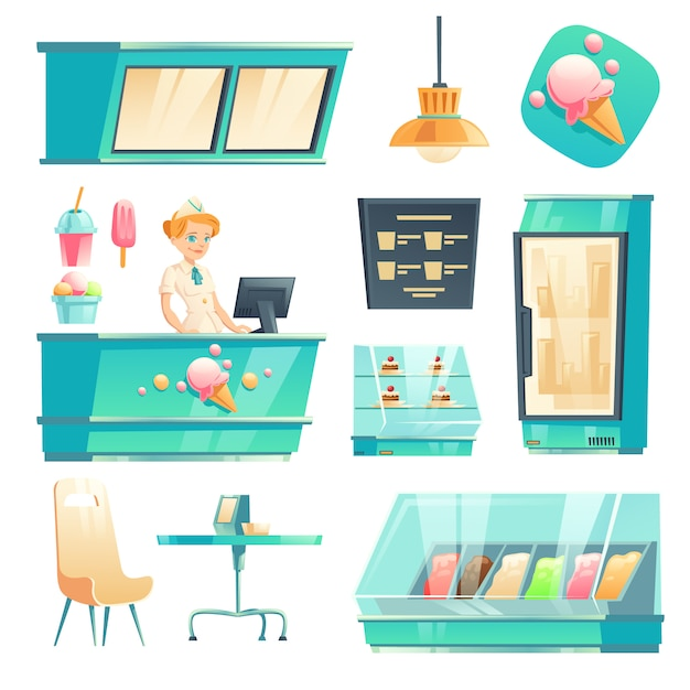 Ice cream shop interior set with seller at counter Free Vector