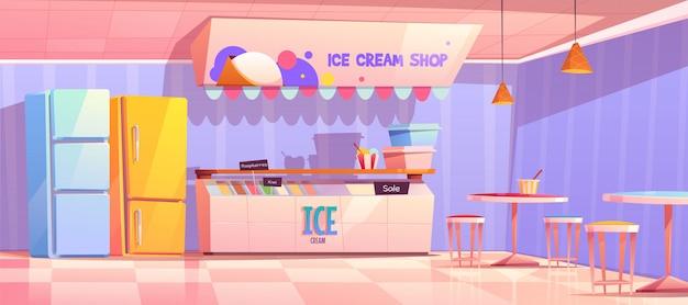 Интерьер магазина мороженого с холодильником и столами Бесплатные векторы