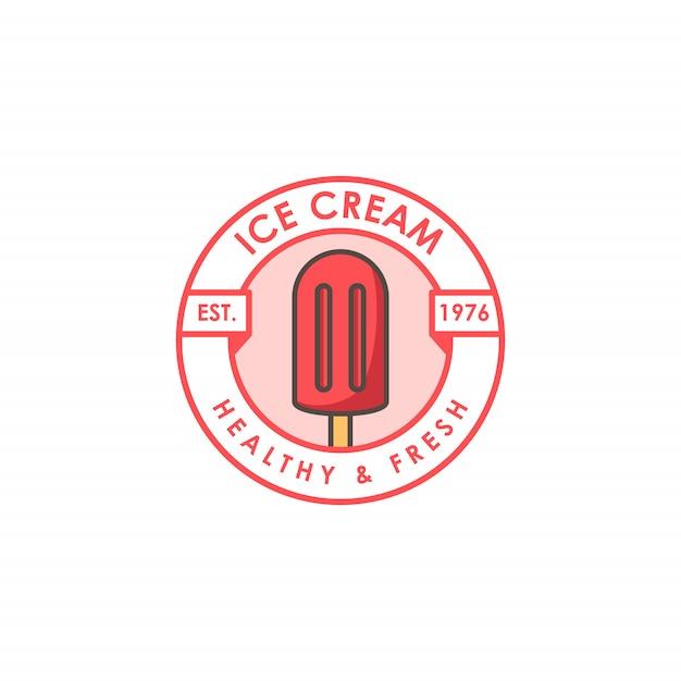 アイスクリームショップのロゴのテンプレート Premiumベクター