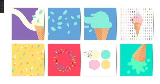 Ice cream square postcards Premium Vector