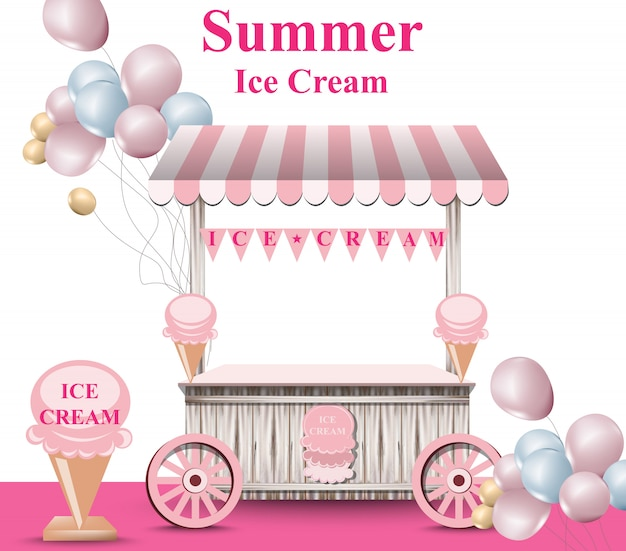 Ice cream stand with balloons Premium Vector