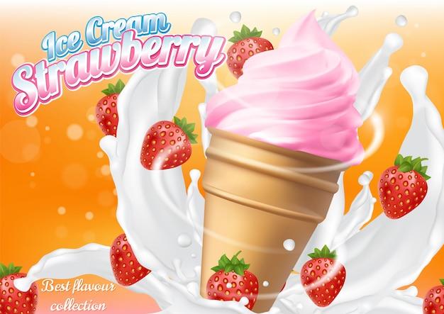 Ice cream strawberry cone dessert vector realistic illustration Premium Vector
