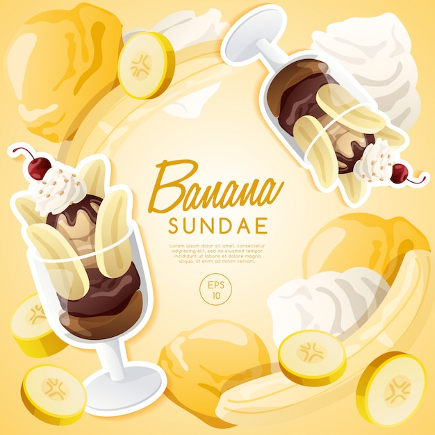 Ice cream sundae set, chocolate banana sundae. Premium Vector